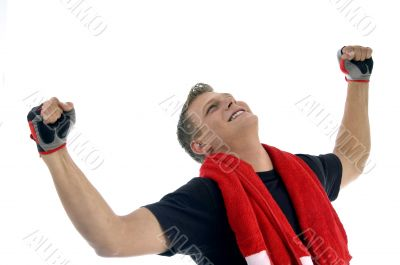 happy man showing winning gesture