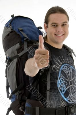 young traveler with backpack