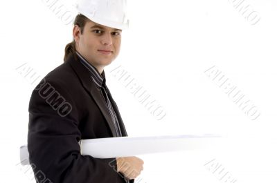 young architect holding blueprints