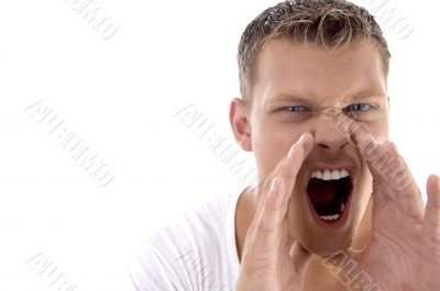young fellow shouting loudly