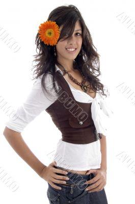 beauty model with gerbera flower