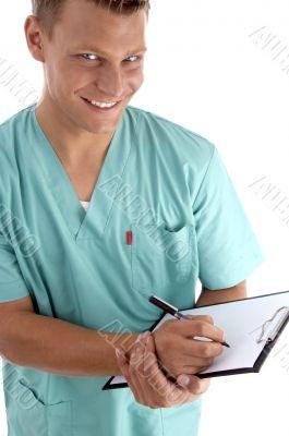 smart surgeon looking at camera