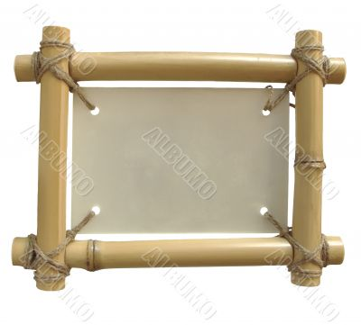 isolated bamboo frame with clipping path