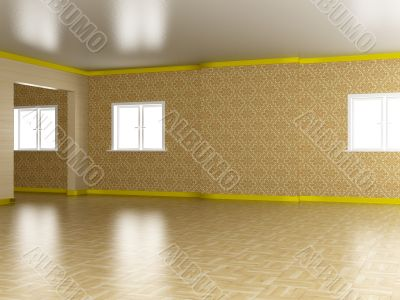 Empty room. A modern apartment. 3D image