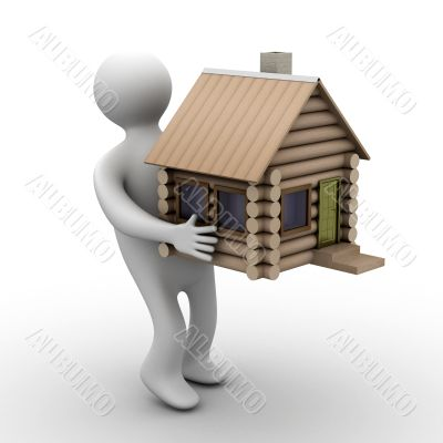 house in a gift. 3D image. isolated illustrations