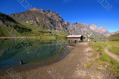 Lake in swiss mountain