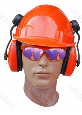head of model is in a build helmet