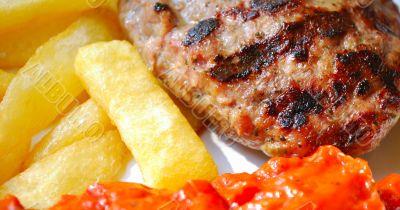 potato fry, chop and sauce
