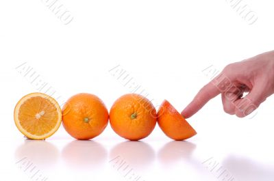 Use and pushes perfectly fresh oranges