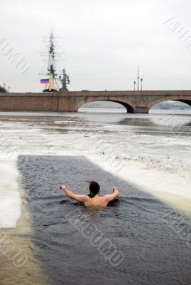 The winter-swimmer at the Peter and Paul Fortress