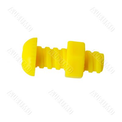Yellow bolt with nut