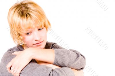 Red haired girl looking depressed and pensive