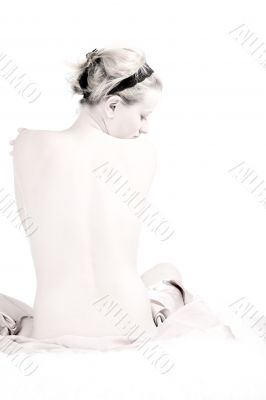 High key of a sexy naked back