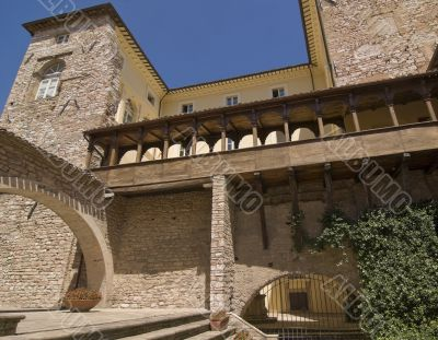 Spello - Courtyard of an ancient palace with gallery