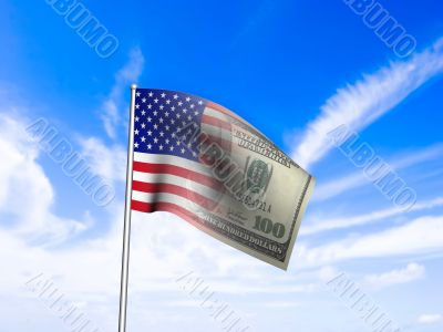 American flag us dollar over blue sky concept rendered from 3D