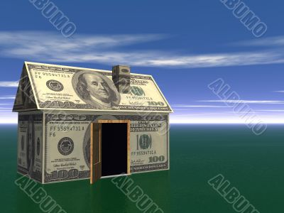 3D Render Real Estate house and money Concept
