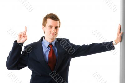 Businessman With finger Up. Sign Attention.