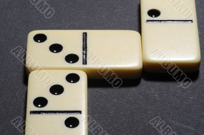 Close up of group dominoes.