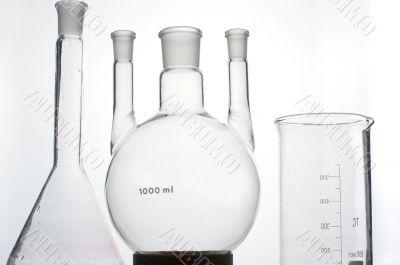 chemistry beaker on grey background