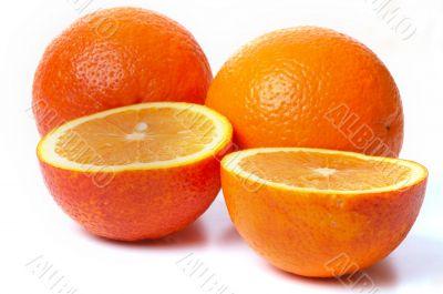 Close-up perfectly four fresh orange.