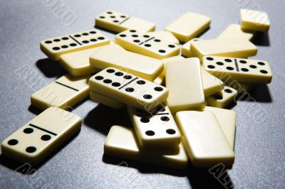 Close up of dominoes.