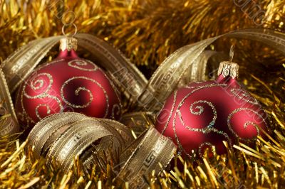 Red christmas ball and gold foil