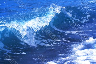 Blue wave on the ocean