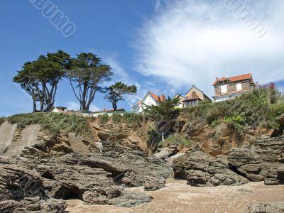 Rocks on the ocean coast in France