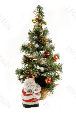 New Year`s tree end Santa