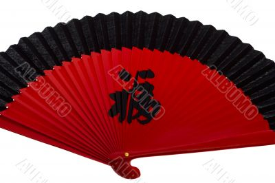 red fan Asian with characters