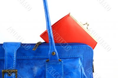 Red wallet in a handbag