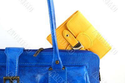 Yellow wallet in a handbag