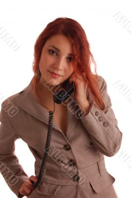 business women in office with telephone