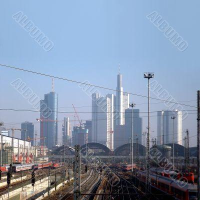 Skyline and central station of Frankfurt