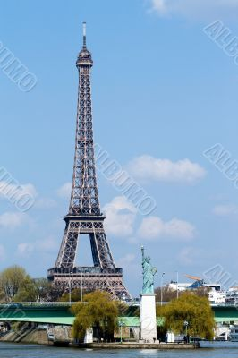 Statue of liberty and Eiffel tower in Paris