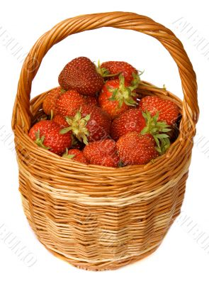 Strawberry in wicker basket