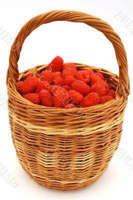 Raspberry in wicker basket