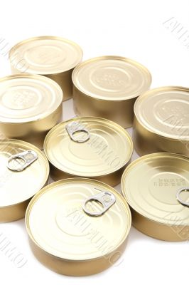Tin with canned food close up