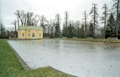 Iced pond and classical buiding