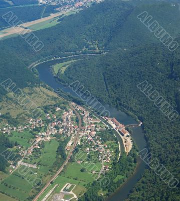 Aerial view of the village Deluz and river Doubs