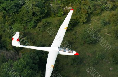 A glider Janus A flying over Alps forest