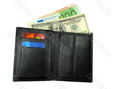 Black leather wallet purse with cash us dollars, euro and credit cards
