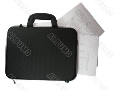 black briefcase with business paper documents in it isolated over white