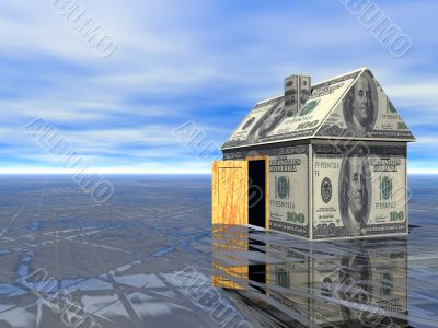3D concept Real Estate dollar house wet asphalt and cloudy blue sky