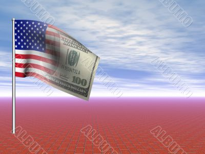 3D concept American flag us dollar over blue sky and infinite red brick pavement