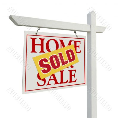 Sold Home For Sale Real Estate Sign on White