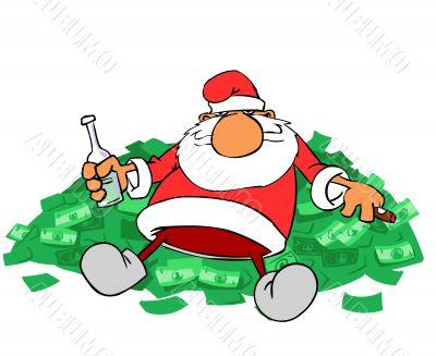Santa claus on money hill
