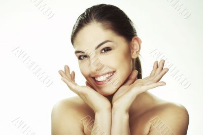 Portrait of beautiful happy young woman
