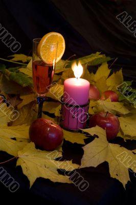fall,drink,candle,still-l ife,orange