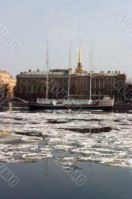 The vessel on tne river Neva